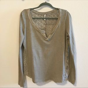 Free People Patches of Lace Tan Henley Shirt M